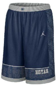 Nike Georgetown Hoyas Blue Screen Printed Replica Basketball Shorts by Nike. $44.99. Georgetown Basketball Shorts Made from 100% polyester fabric and officially licensed by the NCAA these Nike Georgetown Hoyas Blue Screen Printed Replica Basketball Shorts feature an elastic waist band with an internal drawcord, screen-printed team Georgetown specific logos and a Jumpman design trademark at the upper left leg.