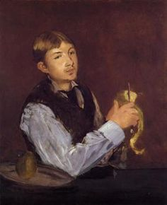 """Young Man Peeling a Pear"" (circa 1869), by French artist - Édouard Manet (1832-1883), Oil on canvas, Dimensions unknown, Nationalmuseum - Stockholm, Sweden."