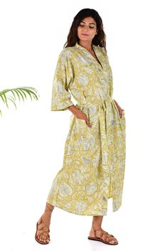 Indian Bridesmaid Nightdress Cotton Block Printed Kimono Maxi Intimates Tunic 67