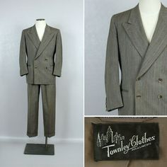 Vintage 1940s Brown Pinstripe Suit • Double Breasted Wide Peaked Lapels by LivingThreadsVintage