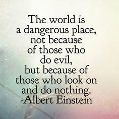 """""""The world is a dangerous place, not because of those who do evil, but because of those who look on and do nothing."""" -Albert Einstein"""