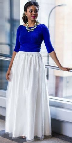 Royal blue top and white maxi skirt