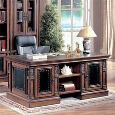If you want to make a rich, luxurious statement in your home office,then this double pedestal executive desk is perfect for you.
