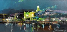 Branko Dimitrijevic, Belgrade at Night, Oil on canvas, 20x40cm