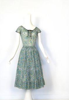 Claire McCardell Dress / Vintage 1950s Dress / 50s Dress / Green Paisley / Bohemian Dress / XS. $325.00, via Etsy.