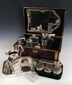 FRENCH SILVER MOUNTED CUT GLASS TRAVELLING DRESSING TABLE SERVICE Richard Gardner Antiques