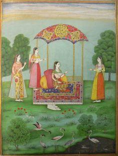 Nayaka ko prachanna sravana darsana, Radha's hidden meeting [with her lover] through hearing [his name] (Rasikapriya 4, 15).  Deccan, perhaps Aurangabad, 1720-30