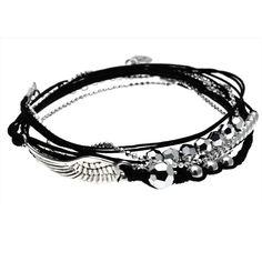 BRACELET ANGEL-AILE D'ANGE NOIR - BRACELETS/Bracelets Cordon - DORIANE Bijoux