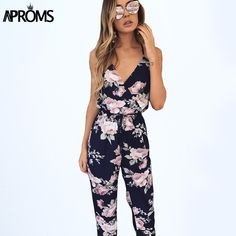 Aproms Deep V Flower Print Chiffon Jumpsuit Romper Womens Boho Sexy Backless Overalls Summer Girls High Waist Long Jumpsuits