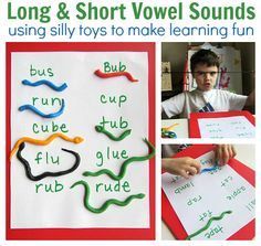 early learning literacy activity-sorting long and short vowel sounds represented by long or short snakes (use picture cards? Phonics Reading, Kids Reading, Reading Activities, Literacy Activities, Teaching Reading, Teaching Kids, Preschool Literacy, Kindergarten, Early Learning