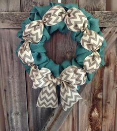 Turquoise & Chevron Burlap Wreath by AstoriaDesignCo on Etsy
