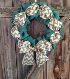 Turquoise & Chevron Burlap Wreath by AstoriaDesignCo on Etsy