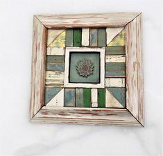 Mosaic Framed Tile, Architectural Salvage, Reclaimed Wood Wall Art, Bohemian Decor, Sunflower Decor, Teal Wall Art, Rustic Kitchen Decor