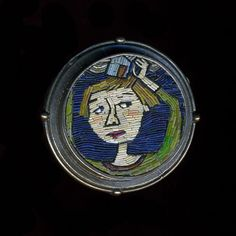 """Cynthia Toops: , Brooch in sterling silver and polymer micro-mosaic. Sterling silver by Chuck Domitrovich. Approximately 1.25"""" in diameter. ..."""