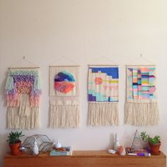 Weaving woven tapestry wall hanging collection by Maryanne Moodie. Www.maryannemoodie.com