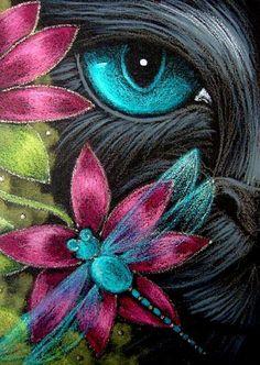 kitten and flower artwork | Art: *BLACK CAT DRAGONFLY & FLOWERS 1 by Artist Cyra R. Cancel