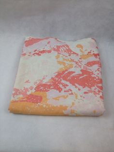 VTG Full Flat Martex Luxor Percale Pink Orange Abstract Retro Mod Bed Sheet 5050 #MartexLuxor