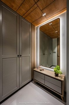 Contemporary Abode with an Earthy Palette and Neoclassical Design | Amazing Interiors - The Architects Diary Neoclassical Design, Neoclassical Interior, Foyer Design, House Design, Wall Design, Dressing Table Design, Wardrobe Door Designs, Sliding Wardrobe Doors, Space Interiors