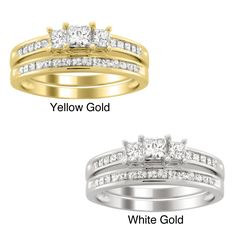 Montebello 14k Gold 1 1/2ct TDW Three Stone Diamond Bridal Ring Set (H-I, I1-I2) (Yellow - Size 5), Women's