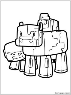 Minecraft Pig Cow And Duck Coloring Page