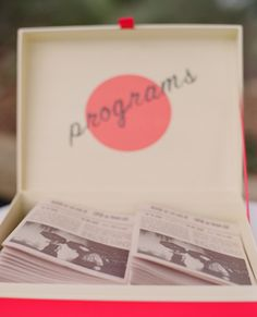Fabulous Guide to Wedding Programs...love these different types of programs