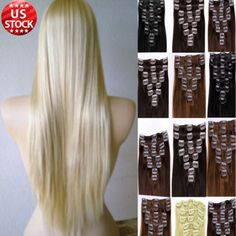 Newest Fashion Brown Blonde Clip In Remy Human Hair Extensions Full Head Long A0 | eBay