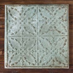 Distressed Tin Decorative Ceiling Tiles, Set of 4 Farmhouse Ceiling Tile, Ceiling Tiles, Tile Around Fireplace, Weathered Paint, Tin Tiles, Antique Farmhouse, Farmhouse Style Decorating, Book Nooks, Paint Finishes