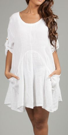 White Roll-Tab Sleeve Cindy Linen Shift Dress
