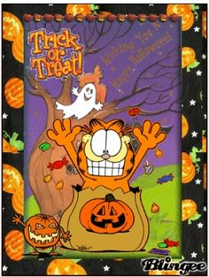 Garfield in Trick or Treat! Garfield Halloween, Halloween Gif, Halloween Ornaments, Holidays Halloween, Happy Halloween, Halloween Decorations, Halloween Prints, Garfield Cartoon, Garfield And Odie