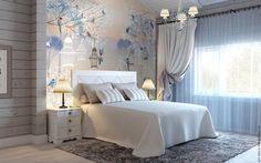"""Купить Фотообои """"Птички"""" - дизайн, белый, серый, спальня, стена, светлый, скандинавский стиль, обои"""