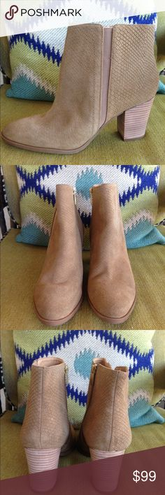 """LIKE NEW WORN ONCE FARIS TAN AQUATALIA SZ 10 BOOTI These LIKE NEW AQUATALIA SZ 10 tan short boots feature a solid Ryan suede leather front and two perforated side panels, a back zip entrance, a 3 3/8"""" heel, suede leather upper, made in Italy, waterproof a small V slit in front of boot. The boots were worn once as you can see from the sole of the boot. 8"""" from top of boot to bottom of heel. This shoe runs true to size (K8) PH Aquatalia Shoes Ankle Boots & Booties"""