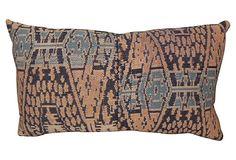 Blue & Rust Ikat Pillow