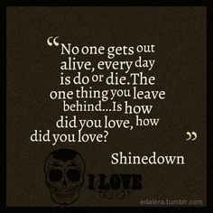 """""""No one gets out alive. Every day is do or die. The one thing you leave behind is how did you love. How did you love?"""" - Shinedown, How Did You Love"""