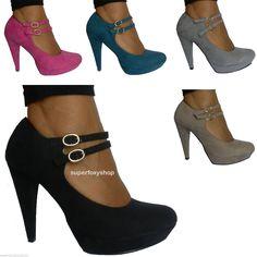 Scarpe donna decoltè scamosciate fibbia caviglia tacco 11 decolletè plateau  m1 45b74a951fc