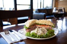 Yummy sandwiches and salads with wine at The Bistro at Water's Edge in The Dalles, Oregon