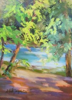 "Daily Painters Abstract Gallery: Georgia Landscape ""Skipping The Light Fantastic"" by Georgia Artist Deanna Jaugstetter"