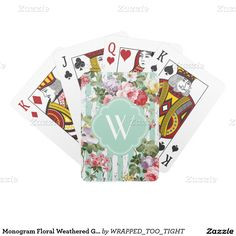 Monogram Floral Weathered Green Stripe Deck Of Cards