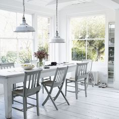 Chairs: Mismatched but painted the same color. Keep it cohesive but casual. Benches could slide in there too for added seating.