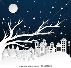 paper art Winter Snow Urban Countryside Landscape City Village with full moon,Happy new year and Merry christmas Landscaping Around Trees, Modern Landscaping, Privacy Landscaping, Farmhouse Landscaping, Landscaping Company, Landscaping Design, Christmas Landscape, Winter Landscape, Landscape Edging