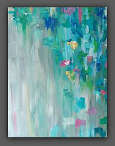 Abstract Colorful Painting Turquoise Aqua Gray by TracyHallArt, $125.00