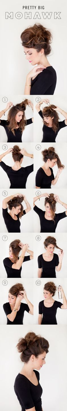 1 // Part the crown of your hair (all the way around). Pin it up on top of your head to get it out of the way. 2 // Make a bun with the top portion of the remaining hair. (If your hair is thin con (Big Hair Tutorial) Faux Hawk Hairstyles, Trendy Hairstyles, Wedding Hairstyles, Hairstyles 2018, Party Hairstyles, Pelo Retro, Hair Romance, Corte Y Color, Looks Cool