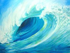 The Wave Watercolour and acrylic Original A3 £55.00 Mounted, includes postage within the UK.  Message me please