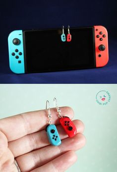 Nintendo Switch Joycon Video Game Console Polymer Clay Gamer Earrings - Switch Nintendo - Switch Nintendo for sales - - These earrings are styled after the Nintendo Switch joycons. They're perfect for anyone wanting to express their inner gamer. Cute Polymer Clay, Cute Clay, Polymer Clay Charms, Diy Clay, Polymer Clay Earrings, Clay Crafts, Polymer Clay Miniatures, Polymer Clay Projects, Polymer Clay Creations