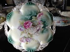 c.1910 ~ RS PRUSSIA - CAKE PLATE ~ Rose/Poppies Décor in GASTON Book MARKED MINT