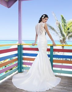 Could trade the satin lower half for net to match the back.   Straps are small and lace in front. Easy to add more sleeve embellishment.         2014 Wedding Gowns, Bridal Dresses & Evening Wear - Sincerity | All Styles 3795
