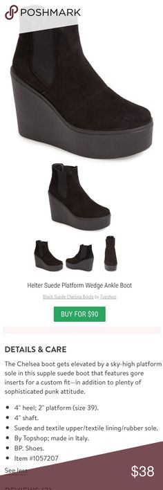 """Topshop """"helter"""" suede boots Black suede leather with a comfortable wedge platform. More pics of actual boots coming!  These are NWOT Topshop Shoes Ankle Boots & Booties"""