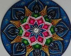 Mandala vitral Felicidade 30cm