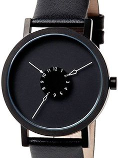 Projects 40mm Black Nadir Quartz Watch with Matching Leather Strap 7265