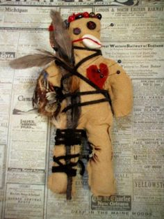 voodoo hoodoo doll/poppet  handmade leather  by jenuineserendipity, $80.00