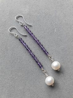 Long Modern Sterling Silver Wire Wrapped Amethyst & Pearl